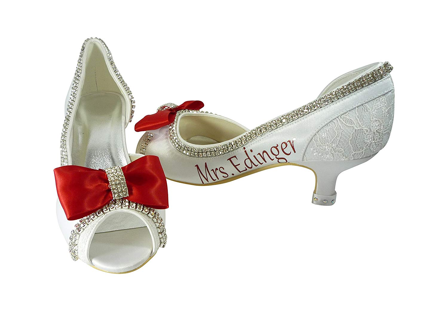 b878a50385d6 Wedding Heels with Bows - Ivory   Red White Silver or Choose Colors- 2