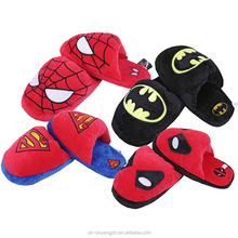 Cheap wholesale Factory customized fluffy promotional Gift cartoon Mavel DC Hero Cotton Slippers