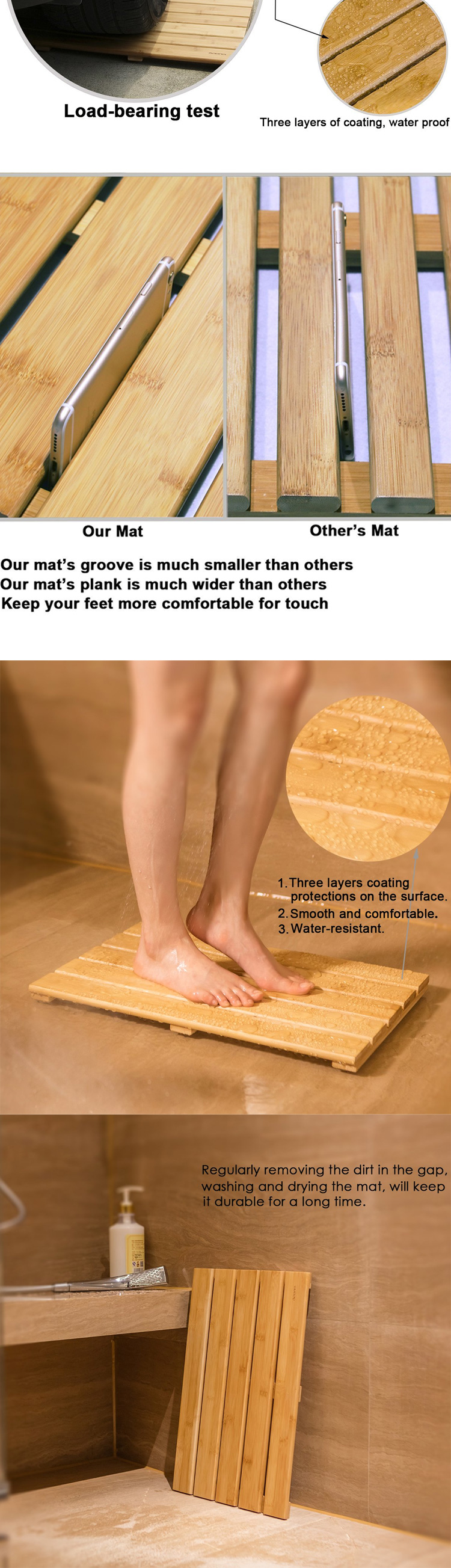 Non-Slip Bamboo Spa Relaxation Shower Mat Bath For Bathroom Rugs