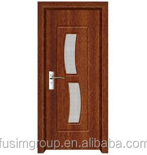 Cheap Interior PVC Flush Door With Double Glass