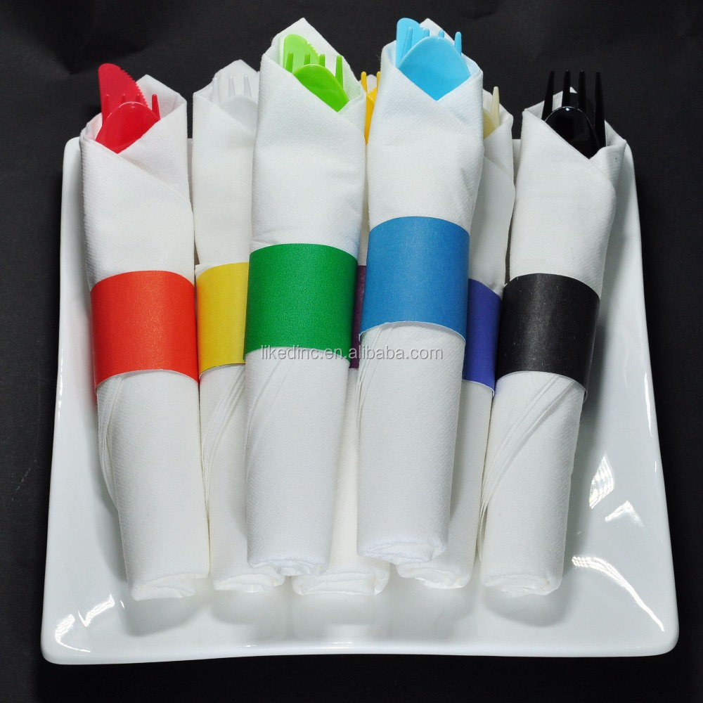 Pre-rolled and individually wrapped plastic cutlery sets