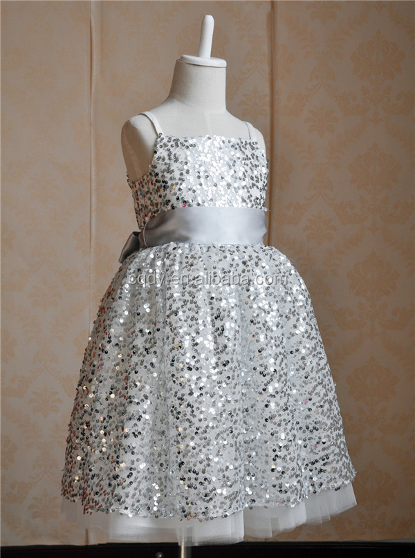 2015 Silver Bling Children Party Frock Kids Boutique Birthday Dress 5 Years Old Little Girls Sequin