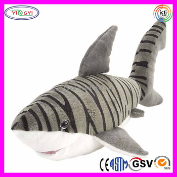E718 Giant Tiger Shark Pillow Stuffed Plush Toy Life Size Huge Shark