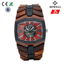 man wooden watch with 100% natural wood handmade fashion automatic mechanical watch