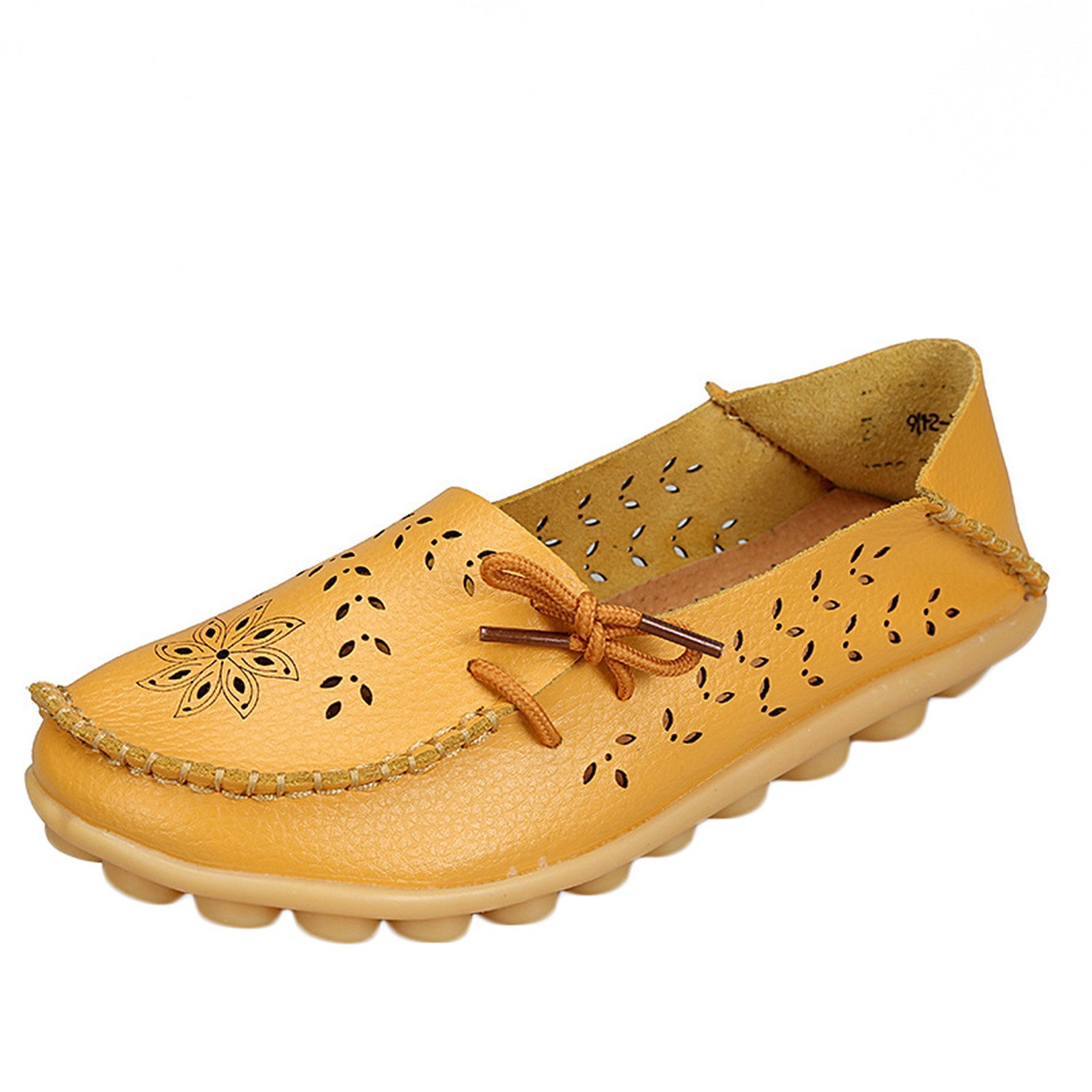 Women's Casual Leather Woman Loafers Slip-On Female Flats Ladies Driving Shoe Cut-Outs Mother Footwear Yellow 13