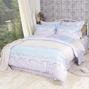 Soft endless curve printed queen bedding set cotton bed sheets