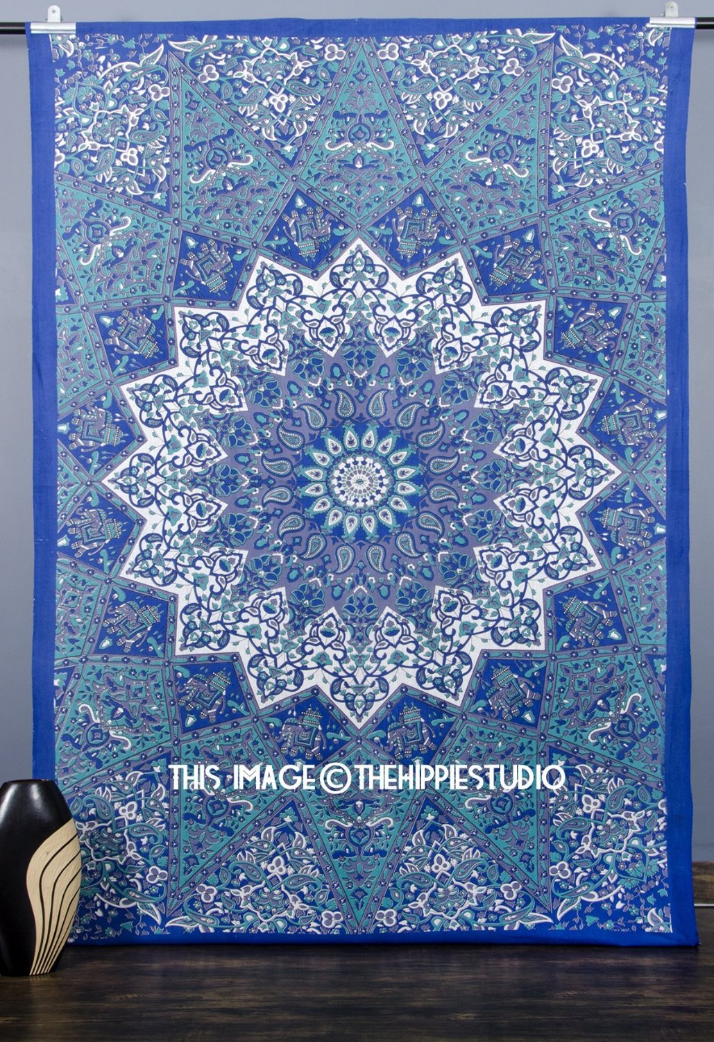Kaleidoscopic Star Tapestry, Intricate Floral Design Indian Bedspread, Hippie Mandala Tapestries Wall Hangings, Boho Tapestry Throw, Tapestries for Dorms