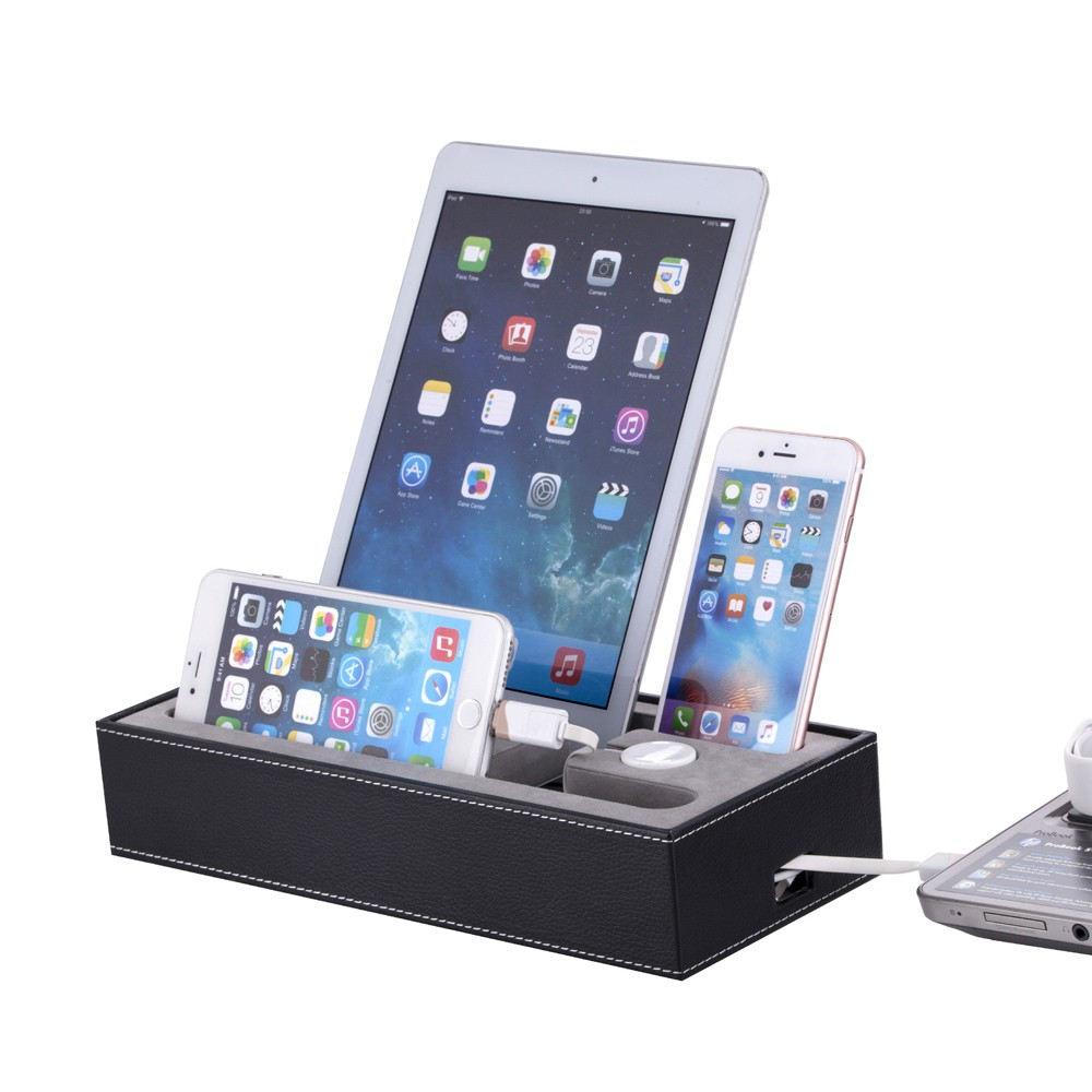 Black Pu Leather Phone Charging Docking Station For Iphone
