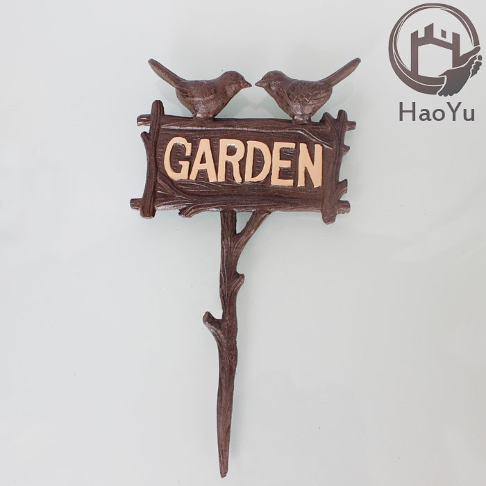 cast iron bird shaped garden ornament for flower receptacle