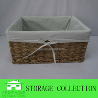 natural woven seagrass basket with cloth liner