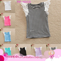 Adorable Lace Flutter Tank Top Singlets Comfort Colors Plain Solid Cotton Swing Top Shirts Wholesale Kids Baby Boutique Clothes
