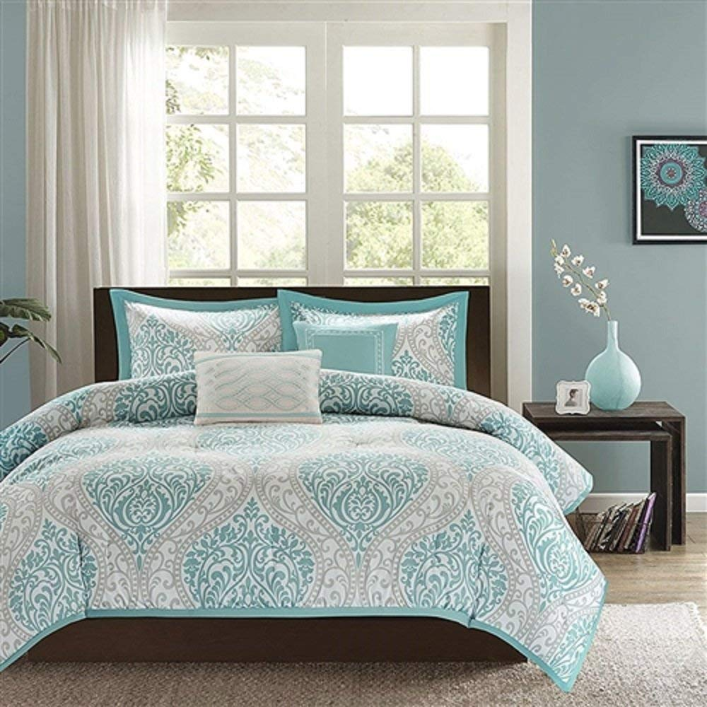 Svitlife Twin/Twin XL Comforter Set in Light Blue White Grey Damask Pattern Comforter Set Pattern Bed Duvet Cover Floral Soft Piece Bedding Patterns