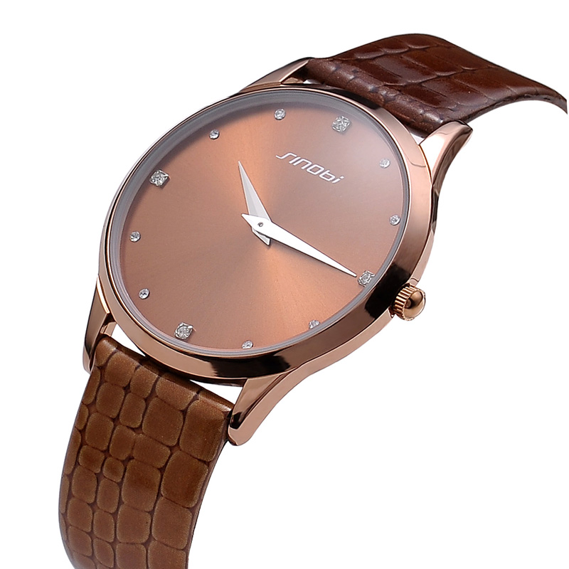 Big Round Gold Dial Kezzi Brand Japan Movt Women Ladies's Watches Leather Strap Watch