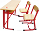 Play School Furniture Double Student Shelf Desk and Chair