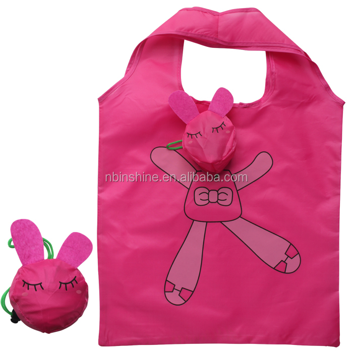 Reusable lovely bee polyester foldable bag , folding shopping bag , polyester tote bag