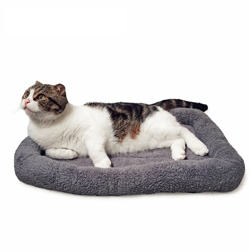 51Panda Pet Kennel Mat, Soft Cozy Plush Grey Polyester Sherpa Square Crate Pad Blanket with a Circle of Arched Edges for Small, Medium and Large Dogs or Cats