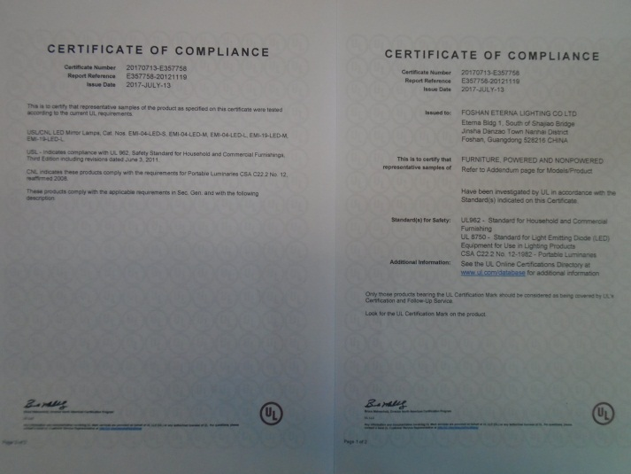 Foshan Eterna Lighting Co , Ltd