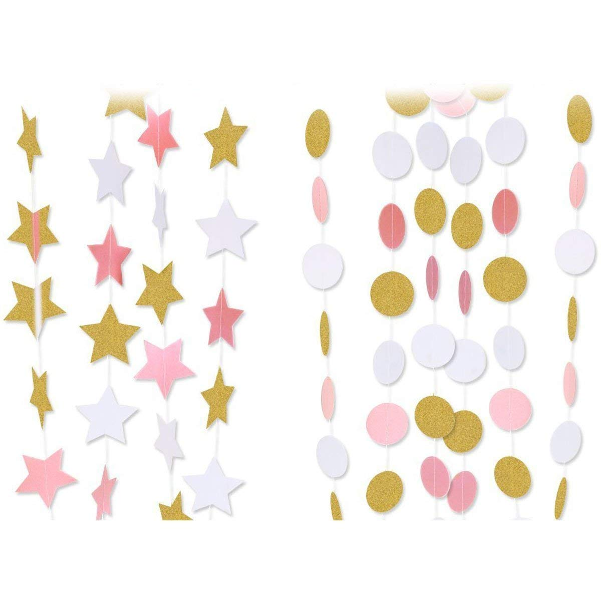 Paper Garland, Emopeak 80ft Hanging Glitter Paper Garland Circle Dots for Wedding, Bridal Showers, Birthday Party, Event Party Decor (6Pack Circle Polka Dots and 2Pack Stars-Pink White Gold)