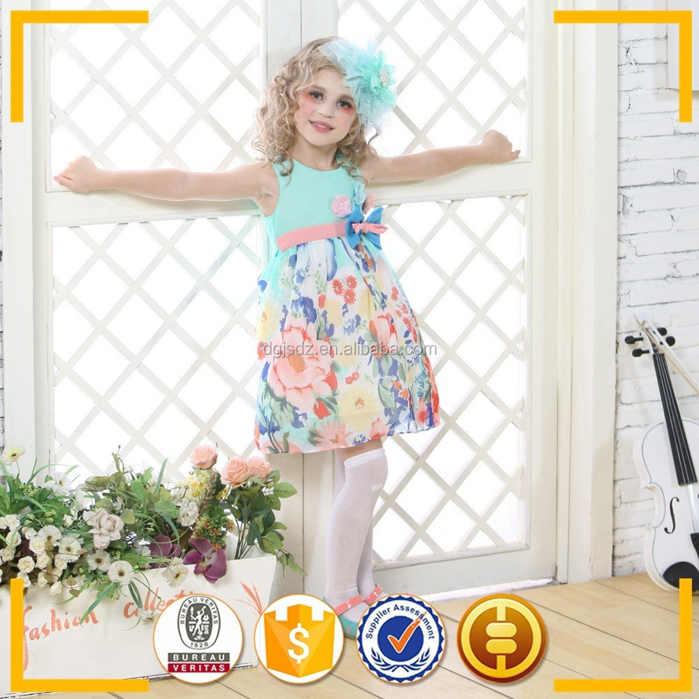 2015 new wholesale childrens designer clothes sale chiffon material cheap name brand kids clothes