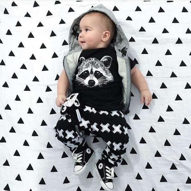 2016 Summer Baby Boy Clothes Hgih Quality Cotton Fox Printed Short Sleeve 2pcs Sets Kids Baby Boy Clothing Infant 2 Pcs Suit