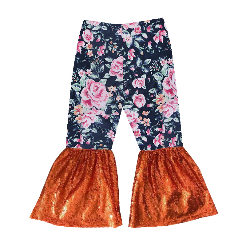 New design Girls Wholesale Boutique Clothing Serape Leopard Printed Baby  Clothes Leggings Kids Bell Bottom Pants