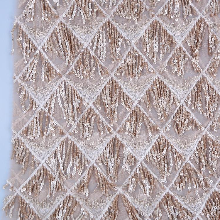2019 Produsen Pengolahan Polyester Mesh Pengantin Pernikahan Gaun Payet Rumbai Bordir Lace Fabric untuk Grosir