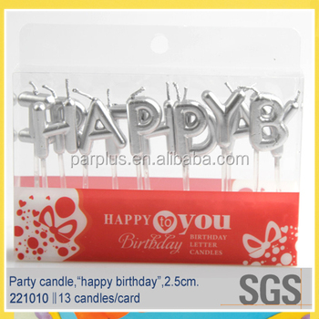 silver happy birthday letter pick candle for cake decoration