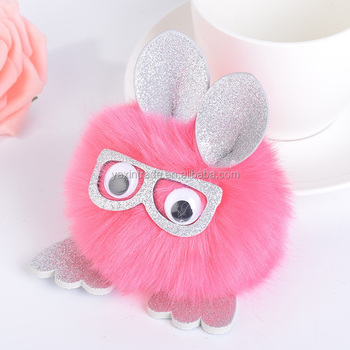 Newest products 10cm Cute faux fur pompom keychain glitter glasses pom pom  key ring animal owl df1a2b7218f7