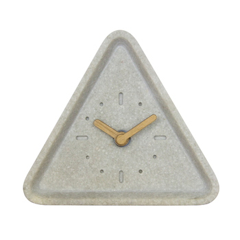 Customized Triangle shape resin clock  wooden hands design on  desk and table clock for gift clock