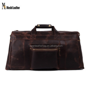 1098 Moshi Vintage Style Genuine Cowhide Leather Travel Luggage Bag Vintage Holdall Duffle Bag for Men