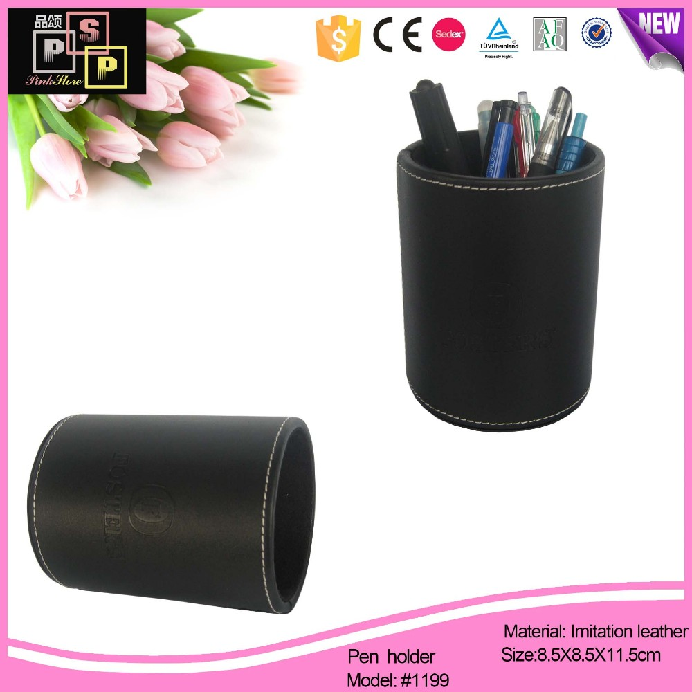 High-quality handmade black pu leather pen box