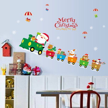 kids cartoon merry christmas transparent pvc sticker easy remove