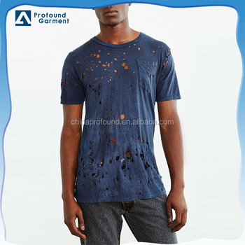 custom plain solid color ragged hole mens blank distressed t shirts