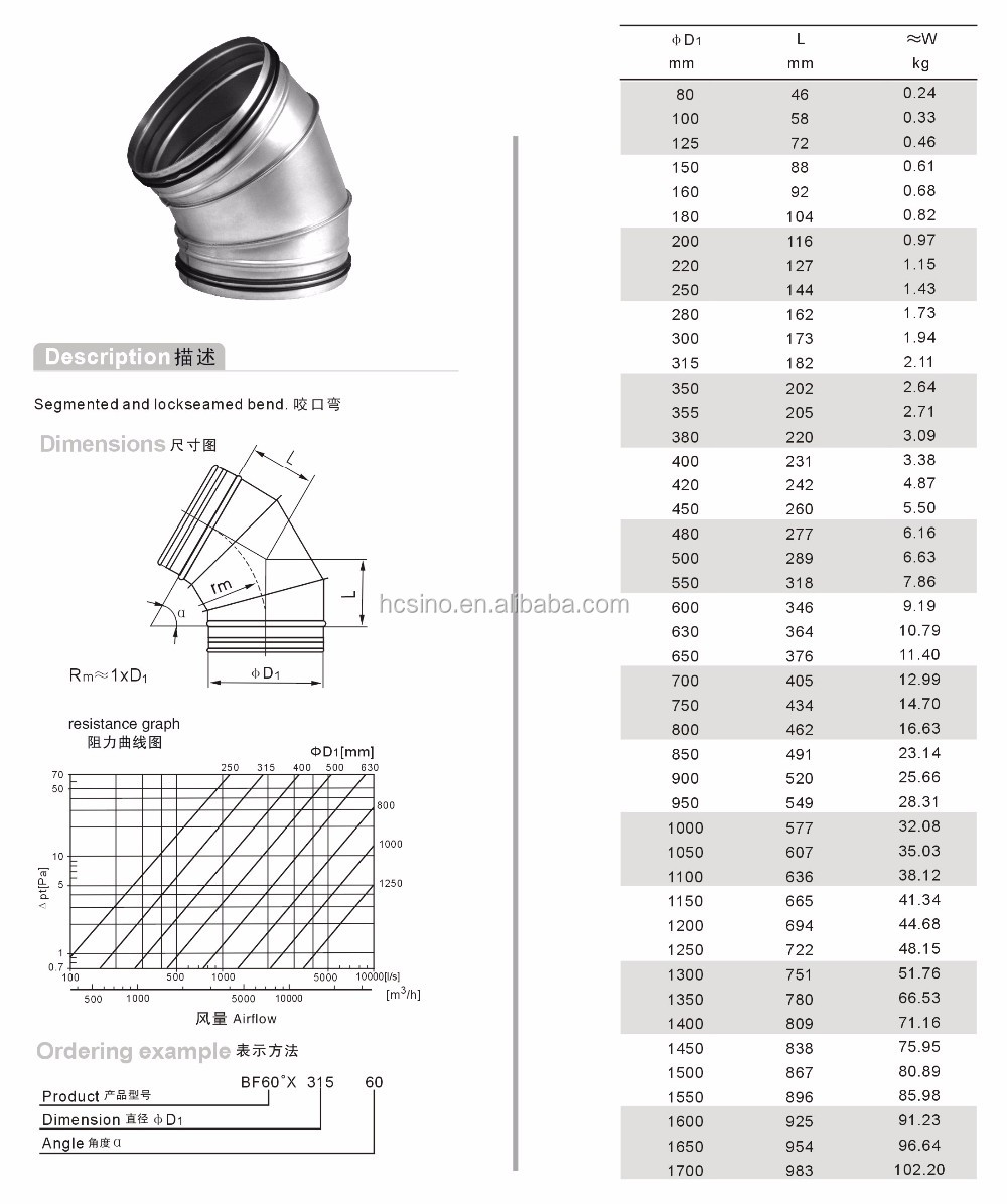 60 degree galvanized pipe elbow for air conditioning/cooling system