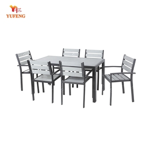 Poly Wood WPC Garden Dining Set with 1 table and 6 chairs