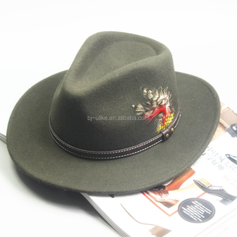 98f51893c65 Wool Hats With Feather Decoration Wholesale Felt Hat Fedora - Buy ...