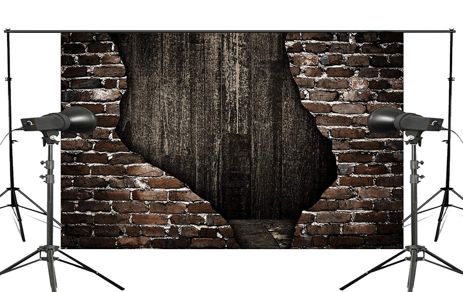 ERTIANANG Cracked Old Brick Wall Photo Background Children Photo Studio Retro Photography Backdrops Wood Floor 5x7ft