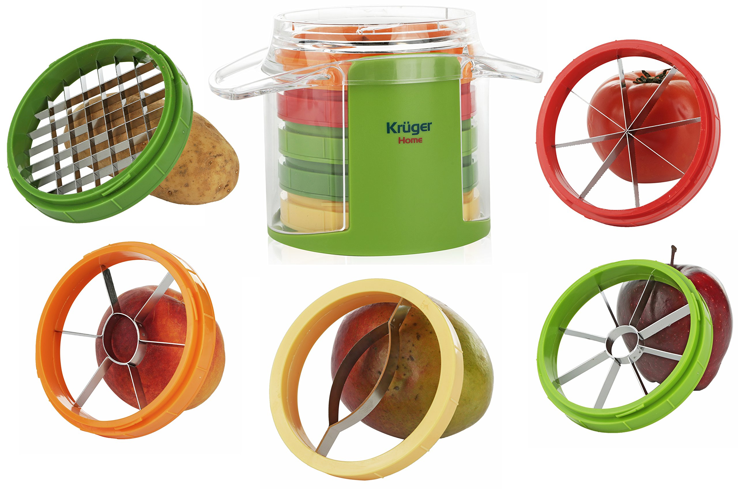 Kitchen Maestro Mango and Apple Slicer and Corer Slice and Pit your Fruits in One Easy Movement.