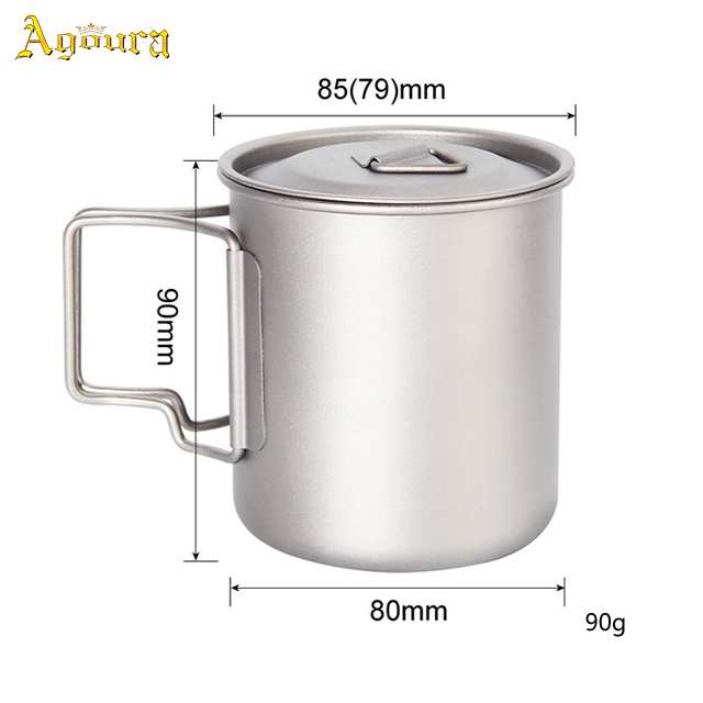 Factory Custom Eco-friendly Ultralight Portable Pure Titanium Cup Outdoor Camping Coffee Mugs with Folding Handle