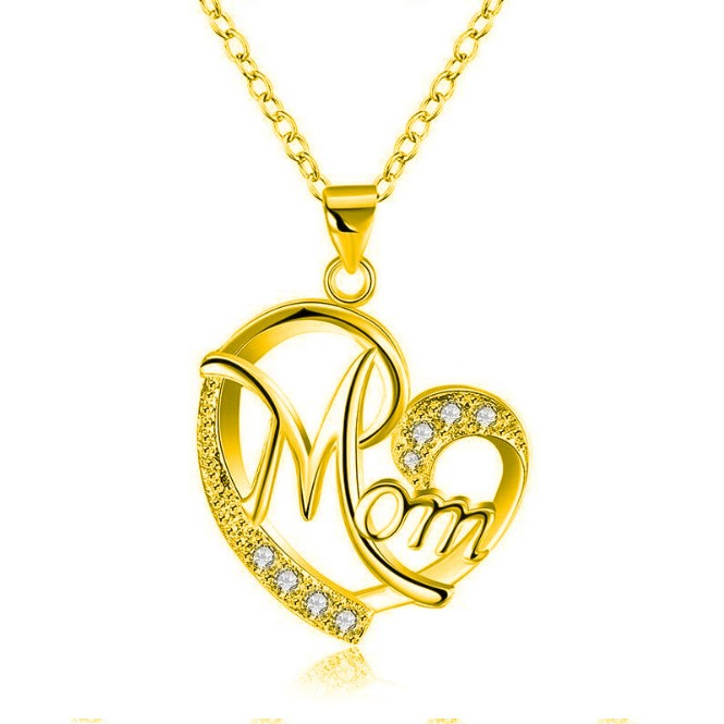 CS33 Europe and America female mom heart-shaped necklace fashion copper plated silver zircon letter necklace mother's day gift