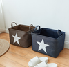 Promotional products home storage organization linen cotton with star pattern with handles