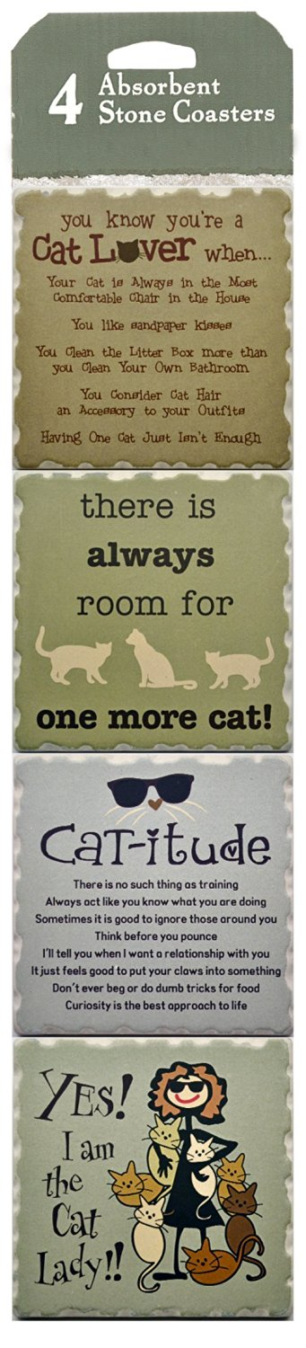 Set of 4 Stone Coasters ~ Cat-itude Cat Lover Decor ~ Perfect Kitty Cat Lovers Gift ~ Absorbent