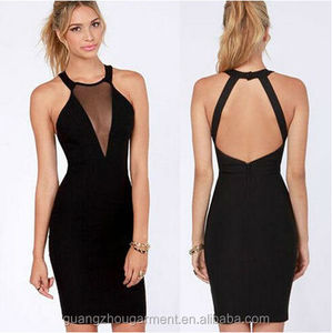 OEM 2014 exy Women Lady Black Cutout Cocktail Party Clubwear Halter Bodycon Trendy Dress