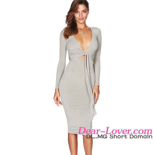 Grey Multi-way V Neck Tie Long Sleeve ladies dress online shopping