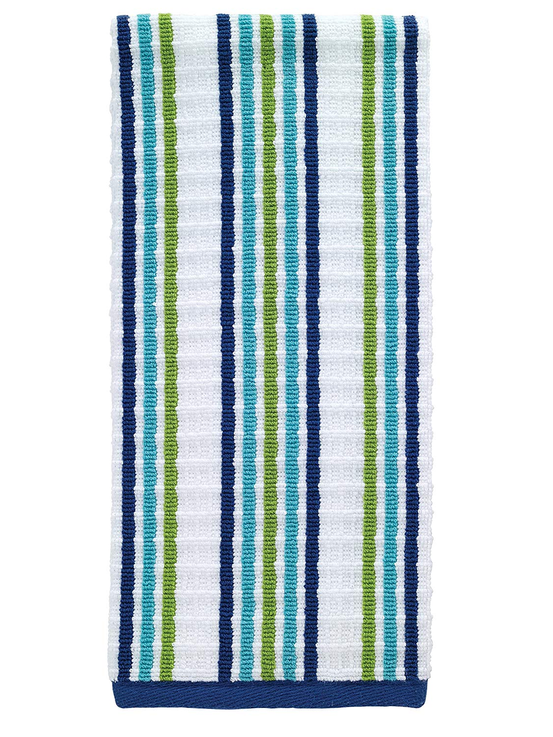 "T-fal Textiles Striped Waffle 100% Terry Cotton, Highly Absorbent, Anti-Microbial, Oversized Kitchen Towel, 16"" x 28"", Cool"