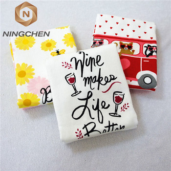 100% cotton custom design romantic marry printing velour tea towel kitchen towel