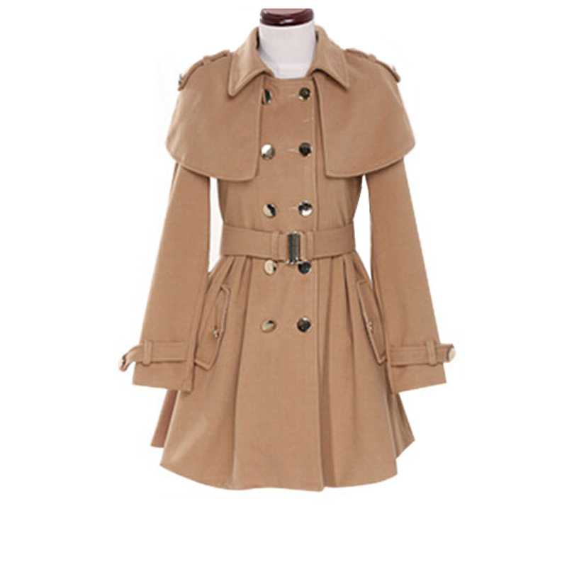 British Style Womens Double Breasted Trench Coat Jacket Woolen Overcoat Women Fashion Slim Wool Blends Womens Coat Dress