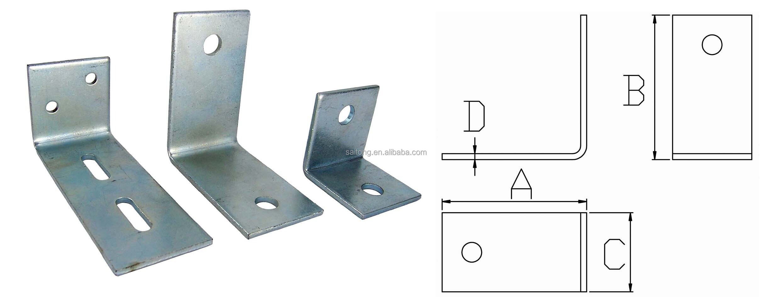 90 degree steel reinforced frame wall mount angle bracket for Wood floor 90 degree turn