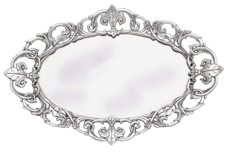 Arthur Court Fleur-De-Lis 20-Inch Oval Serving Tray