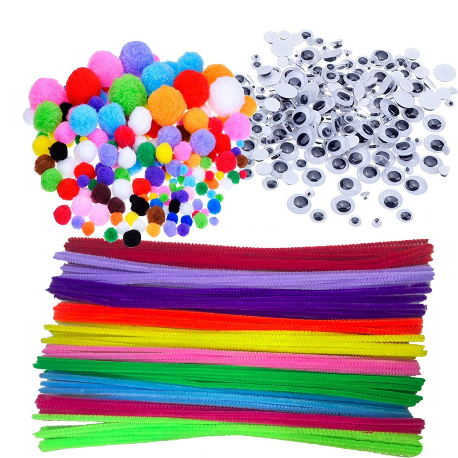 Wartoon Pipe Cleaners Crafts Set, Pipe Cleaners Chenille Stem and Pompoms with Googly Wiggle Eyes for Craft DIY Art Supplies, 500 pieces